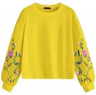 Lazzboy Frauen O-Ausschnitt Langarm Botanical Blumendruck Pullover Sweatshirt Top Damen Teenager Mädchen Streetwear Stickerei Tops Bluse Bekleidung