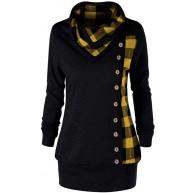 Lazzboy Sweatshirt Damen Lange Umlegekragen Oberteile Pullover Pulli Longpullover PulloverKleid Tops Bekleidung