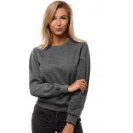 MOODOZ Damen Sweatshirt Pullover Langarm Farbvarianten Langarmshirt Pulli ohne Kapuze Baumwolle Baumwollmischung Classic Basic Rundhals-Ausschnitt Sport JS W001 Bekleidung