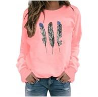 Mysight Lange Ärmel Pullover Damen Winter Pullover mit Rundhalsausschnitt Vintage Sweatshirt Mode Oversized Bunter Feder Drucken Pullover Teenager Mädchen Sportbekleidung Sweatshirt for Women Bekleidung