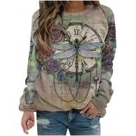 Mysight Pullover Damen Blumen Libelle Drucken Sweatshirt Langarmshirt Langarm Rundhals Shirts Herbst Winter Pulli Tops Oberteile Bekleidung