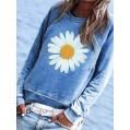 Onsoyours Damen Sweatshirt Casual Sunflower Muster Rundhals Langarmshirt Pullover Pulli Bluse Top Herbst Winter Oberteile Bequeme Streetwear Bekleidung