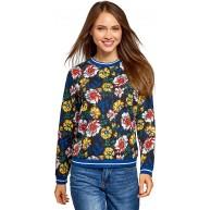 oodji Collection Damen Bedrucktes Sweatshirt mit Kontrastbesatz Mehrfarbig DE 40 EU 42 L Bekleidung