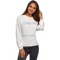 oodji Ultra Damen Baumwoll-Sweatshirt mit Elastischem Saum Weiß DE 32 EU 34 XXS Bekleidung