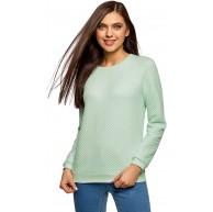 oodji Ultra Damen Gerades Sweatshirt aus Strukturiertem Stoff Grün DE 32 EU 34 XXS Bekleidung