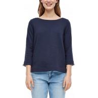 s.Oliver Damen Sweatshirt mit Rippstruktur dark blue 40 Bekleidung