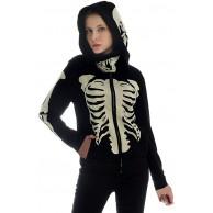 SALUCIA Maske Hoodie Damen Skelett Druck Pullover mit Kapuze Mode Kapuzenpullover Sweatshirt Langarmshirt Oberteile Top Bekleidung