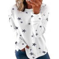 Sexy Dance Damen Casual Gestreiftes bedrucktes Sweatshirt Rundhals Langarm Tops Pullover Bluse Tunika Bekleidung