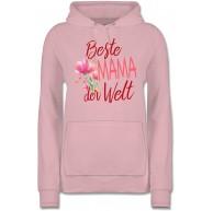 Shirtracer - Muttertagsgeschenk - Beste Mama der Welt Blumen - Damen Hoodie und Kapuzenpullover für Frauen Shirtracer Bekleidung