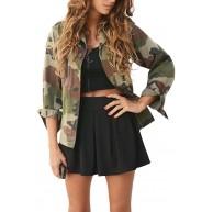 SHOBDW Damen Frühling Herbst Lässig Mode Exquisit Camouflage Drucken Jacke Mantel Winter Street Jacke Frauen Casual Kurz Jacken Outwear Shirts Bluse Tops Sweatshirt Bekleidung