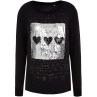 SOCCX Damen Sweatshirt mit Artwork aus Wendepailletten Bekleidung