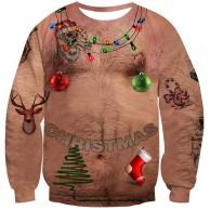 UNIFACO Unisex Hässliche Weihnachtspullover Damen Herren 3D Druck Lustige Weihnachtspulli Rundhals Weihnachts-Sweatshirt Jumper Herbst Xmas Pulli S-4XL Bekleidung