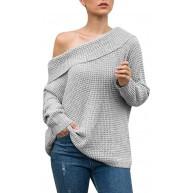 Amphia Winterpulli Oberteile Damen Pullover Sweatshirt Herbst Pullis - Frauen Langarm Off Schulter Pullover Solid Down Shirts Sexy Tops Bluse Bekleidung