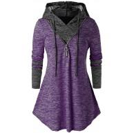 AmyGline Oberteil Damen Hoodie Pullover Elegant Retro Tie Dyeing Langarm Zip Hooded Tunic Top T Shirt Bluse Plus Size Bekleidung