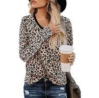 AmyGline Oberteil Damen Langarmshirt Leopard Drucken V-Ausschnitt Langarm Pullover Sweatshirt T Shirt Tank Top Bluse Bekleidung
