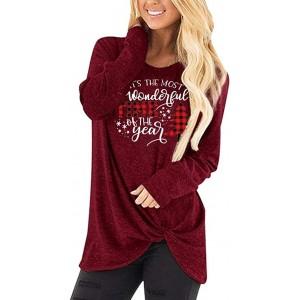 Damen Casual Rundhals Langarmshirts Weihnachtsbluse Langarm Lose Weihnachten Brief Druck T-Shirts Tops Mode Elegante Fröhlich Weihnachten Weihnachtshemd Oberteil Bekleidung