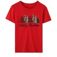 Damen Mädchen Weihnachtskostüm Rundhals Kurzarm Casual T-Shirts Weihnachtshemd Mode Weihnachtsmuster Lose Weihnachtsbluse Tops Sommer Große Größe Günstig Oberteile Bekleidung
