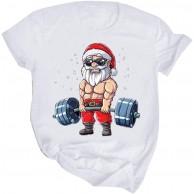 Damen Mode Kurzarm Weihnachtsbluse T-Shirts Weihnachtsmann Gedruckt Rundhalsausschnitt Lose Weihnachtshemd Freizeit Festlich Party Einkaufen Karneval Hemdbluse Oberteile Bekleidung