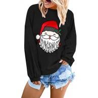 Damen Weihnachtsbluse Lose Übergröße Rundhals Langarmshirts Weihnachtskostüm Mode Einfach Weihnachtsmann drucken T-Shirts Oberteile Casual Elegante Große Größe Weihnachtshemd Bekleidung