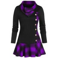 DQANIU Plus Size Damen Turn-Down Langarm Pliad Pachwork Bluse Dame geknöpft Cowl Neck Tops Pullover Bekleidung