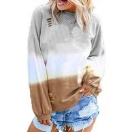 Easygou Damen Colorblock Tee Rundhals Tunika Tops Loch Casual Langarm Loose Fit Shirt Basic Bluse Sweatshirt Bekleidung