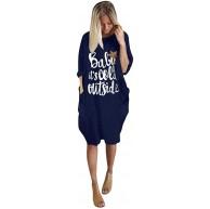 FIRMON Damenkleid in Übergröße lockeres Oberteil Rundhalsausschnitt Lange Tasche lustiger Buchstabendruck Weihnachtsbluse Kleid Bekleidung