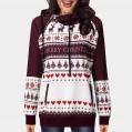 FIRMON Sweatshirt mit Kapuze für Damen mit weihnachtlichem Design für Herbst und Winter mit Rentier-Aufdruck Bekleidung