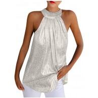 GOKOMO Frauen Sommer Solide Pailletten Sleeveless Beiläufige Tunika Tank Shirt Weste Bekleidung
