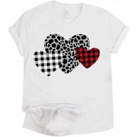 GOKOMO Mode Valentinstag Plaid Leopard Herz Print Oansatz Bluse T-Shirt Tops Bekleidung