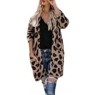 HULKY Damen Wintermantel Cardigan Damen Plüschjacke Mode Frauen Leopard Bedruckte Top mit Taschen Faux Wollmantel S-L2 Bekleidung