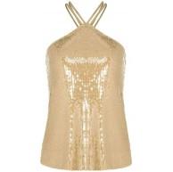 JXQ-N Damen Pailletten Weste glänzend Rundhals Hosenträger Top Club Party Party Kleid ärmellose rückenfreie Mode charmant Bekleidung