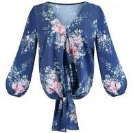 MINASAN Damen Bluse Langarm Lose Streifen Langarmshirt Oberteile Hemd Asymmetrisch Top Bekleidung