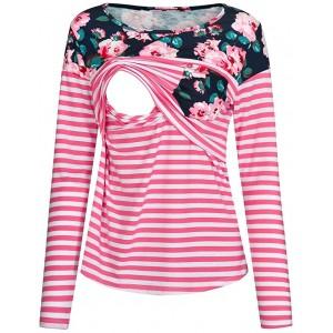 MINASAN Damen Langarm Lose Bluse Patchwork Streifen Umstandsshirt Schwangerschaft Umstandsmode Still Shirt Oberteile T-Shirt Bekleidung