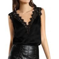 PRETTYEST Damen Top T-Shirts Frauen Spitze Weste Oberseiten-Sleeveless beiläufiges Behälter-Blusen-Sommer übersteigt T-Shirt V-Ausschnitt Tops Oberteile Bluse Bekleidung