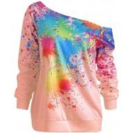ReooLy Art und Weise Frauen Hülsen-Kragen Langarm-Sweatshirt Top Splatter Druck Bekleidung