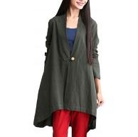 ReooLy Frauen Casual V-Ausschnitt Baumwolle Leinen Mid-Long Long Sleeve Jacke Button Top Bekleidung