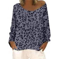 ReooLy Frauen lose beiläufige Lange Hülsen-Leopard-Rundhalsausschnitt-Slant-Schulter-Large Size-Rundhalsausschnitt-Druck T-Shirt Top Bekleidung