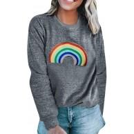 ReooLy Frauen-Sweatshirt mit Regenbogenmuster Langarm-Pullover mit O-Ausschnitt Bekleidung
