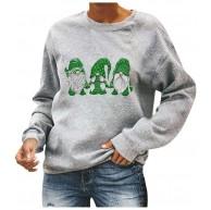 ReooLy Frauen-Weihnachtsdruck-Rundhalsausschnitt Langarm Rundhals Langarm-beiläufiges Baumwollhemd Sweatshirt Bekleidung