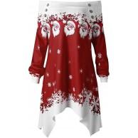 ReooLy Weihnachtsdame Reißverschlusspunktdruckknopf langärmeliges Hemd mit Kapuze Sweatshirt-Pulloverhemd T-Shirt Bekleidung