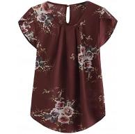 RODMA Sommermode Frauen lässig Rundhalsausschnitt Basic Floral Plissee Zylinder Kurzarm Shirt Top Bekleidung