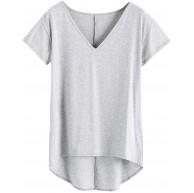 RODMA Sommermode Freizeit Damen Damen Sommer V-Ausschnitt Solide Lose Freizeit T-Shirt Tops Bluse Bekleidung