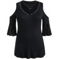 RODMA Sommermode Lässig Plus Size Mode Frauen Solid T-Shirt Kurzarm Weste V-Ausschnitt Niet Bluse Bekleidung