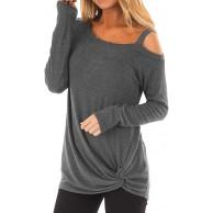 Voicry Beiläufiges weiches langärmliges O Neck Knot Side Twist Bluse Top T-Shirt für Damen Bekleidung