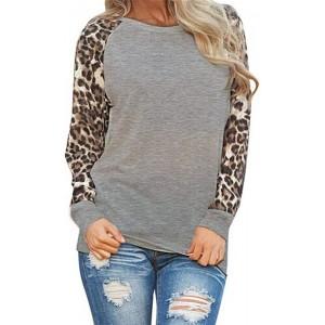 Voicry Damen Leopard Bluse Langarm Fashion Damen T-Shirt Übergrößen Tops Bekleidung