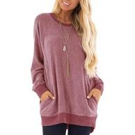 Voicry Frauen-beiläufige Farben-Block-Lange Hülsen-Oansatz-Taschen-T-Shirts Sweatshirt-Bluse Bekleidung