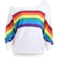 Voicry Frauen beiläufige lose Lange Hülsen Regenbogen Druck Pullover Bluse Hemden Sweatshirt Bekleidung
