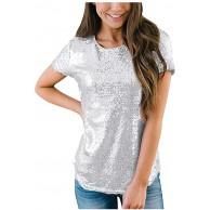 Voicry Frauen Casual Kurzarm T-Shirts O Neck Party Pailletten Tunika Elegante Tops Bekleidung