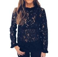 Voicry Frauen-Damen-reizvolle Spitze-Ernte-Oberseiten-Stand-Partei-Oberseiten-Lange Hülsen-Shirt-Bluse Bekleidung