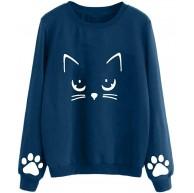 Voicry Frauen Herbst und Winter Cat Weater Round Neck Langarm Regular Bluse Bekleidung